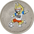 25 рублей 2018 года ЧМ по футболу FIFA 2018 в России - Талисман Чемпионата, цветная Cu-Ni, Ац