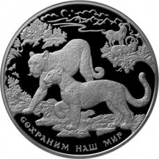 Памятная монета 100 рублей 2011 года Сохраним наш мир - Переднеазиатский леопард, серебро, пруф
