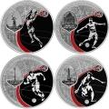 3 рубля 2017 г. ЧМ по футболу FIFA 2018 в России (2-й выпуск, 4 монеты), серебро, пруф