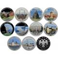 3 рубля 2015 г. Символы России цветные - Комплект 10 монет, серебро, пруф