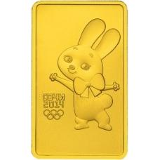 100 рублей 2013 г. Олимпиада в Сочи - Зайка, золото, АЦ
