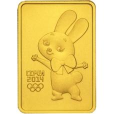 Золотая монета 50 рублей 2013 г. Олимпийские игры в Сочи - Зайка, UNC